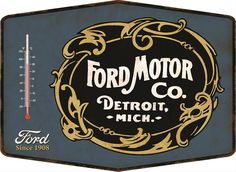 "Ford Motor Company Thermometer:  This refreshingly retro Ford Motor Company thermometer is made from embossed 28-gauge steel, displays temperatures in Fahrenheit and Celsius, and has powdercoated graphics for years of attractive display, indoors or out. Drilled holes for hanging. 14"" x 10"""