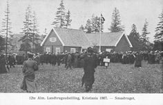 landbruksutstillingen 1907 Abels kunstforlag Scandinavian, Auction, Cabin, House Styles, Painting, Cabins, Painting Art, Paintings, Cottage