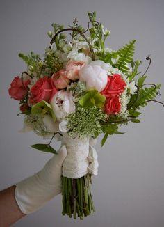 Salmon/Peach/white/green Wedding flowers - Yeopim Flowers
