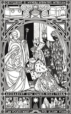 Gospel Lesson for the Feast of the Epiphany of Our Lord Christian Images, Christian Art, Catholic Missal, Christmas Coloring Sheets, Jesus E Maria, Line Art Images, Bible Illustrations, Catholic Kids, Christmas Colors