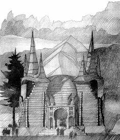Makovecz történetei - vázlat építészetének olvasatához Gaudi, Organic Architecture, Interior Architecture, Architecture Organique, Cathedral, Drawings, Building, Travel, Environment