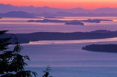 Drop dead gorgeous! Evening view of the San Juans from Chuckanut Drive - heading north to Bellingham on State Route 11.
