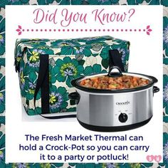 Crockpot Thermal by 31 Get the Fresh Market Thermal by Thirty-One for transporting your crock pot this season!Get the Fresh Market Thermal by Thirty-One for transporting your crock pot this season! Thirty One August, Thirty One Facebook, Thirty One Uses, Thirty One Fall, Thirty One Party, Thirty One Gifts, 31 Gifts, Crock Pot Slow Cooker, Crockpot