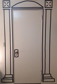 Tromp l'oeil Black on white electrical tape door
