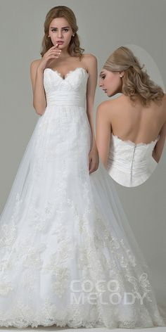 Charming A-Line Sweetheart Natural Court Train Tulle and Lace Ivory Sleeveless…