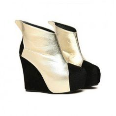 $18.91 Casual Trendy Womens Ankle Boots With Splicing and Wedge Heel Design