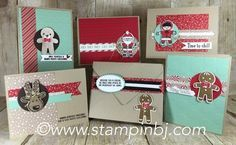 Cookie Cutter Christmas 5 card gift set!  The perfect size for holiday gift giving!   Class details with a free tutorial offer for Cookie Cutter Halloween on my website  #stampinbj.com