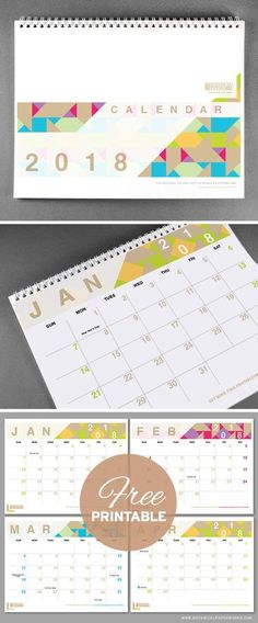 With bright pops of colour and a chic modern design, this 2018 free printable is perfect for capturing all of life's important dates. See more designs and download your favorite 2017 calendar on our blog!