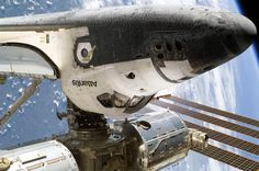 The Space Shuttle docking with the International Space Station.