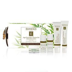 Eminence #Age Corrective Starter Set - 5 pieces: #Detox, treat, revitalize and #moisturize to correct aging with powerful ingredients developed to #create an ageless appear with the complete Eminence Age Corrective regimen. A luscious blend of bamboo, monoi, coconut, and neroli infuse the skin with nourishing properties while Natural Retinol Alternative and Swiss Green Apple Stem Cell Technology restore the signs of aging. Begin increasing collagen production by 25% in just 6 days!