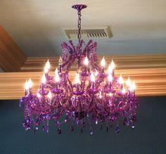 Interesting purple chandelier - like the styling Purple Love, All Things Purple, Shades Of Purple, Purple Stuff, Periwinkle, Lilac, My New Room, My Room, Purple Chandelier