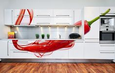 I love the graphic look of these cabinets! (I just don't like peppers)