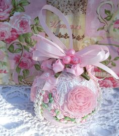 Shabby Pink Christmas Ornament Venise Lace Pink Roses Pearls Rosettes Chic   eBay