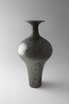 Hideaki Miyamura Vase with Green Crystalline Glaze Porcelain