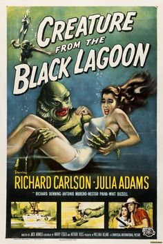 classic posters, free download, graphic design, horror movie, movies, retro prints, theater, vintage, vintage posters, Creature from the Black Lagoon, Richard Carlson, Julia Adams - Vintage Horror Movie Poster