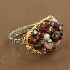 Gold-Filled & Sterling Silver Garnet, Ruby & Pearl Oval Bead Ring by Michelle Pressler $145.00