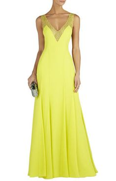 Yellow Lace Detail Mariena Embellished V Neck Maxi Dress Gown @ BCBG $550