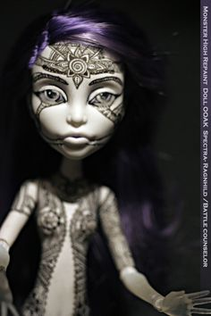 Monster High Repaint nude Doll OOAK Spectra- Ragnhild /Battle counselor on my Etsy store