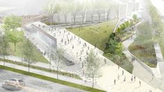 Bird's eye view rendering of new fountain