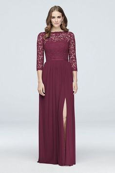 Three-quarter sleeves offer elegant coverage on this instant-classic lace and mesh bridesmaid dress. Finished with a V-back, ribbon-defined waist, and a slit skirt. extra length Nylon, rayon Back zipper; fully lined Dry clean Imported Bridesmaid Dresses With Sleeves, Davids Bridal Bridesmaid Dresses, Burgundy Bridesmaid Dresses, Bridal Party Dresses, Bridesmaid Dress Styles, Burgundy Wedding, Wedding Outfits, Wedding Attire, Blue Wedding