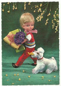 VINTAGE KRUGER DOLLS BOY WITH GIFTS & DOG POSTCARD Modern Christmas, Christmas Cards, Dog Gifts, Vintage Dolls, Postcards, Birthday Cards, Greeting Cards, Christmas E Cards, Bday Cards