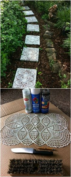 DIY Lace Stepping Stones