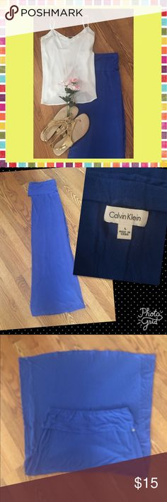 """🎼 In Gods Country 🎼 Excellent Preowned Condition  Royal blue Fold over waist No Leg slits  Runs big for a large, could fit 14/16 I'm 5'8"""" & had to fold over twice Cotton spandex blend Machine washable Calvin Klein Skirts Maxi"""