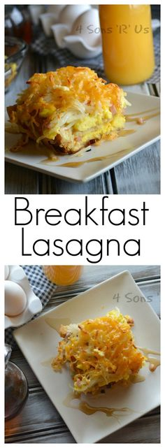 Breakfast for dinner. Dinner for breakfast. Either application works with this Breakfast Lasagna. Fluffy scrambled eggs and diced ham are sandwiched between layers of French toast with a syrup drizzle and a crispy hash brown crust. Day or night– it's a he Breakfast Lasagna, Breakfast Casserole Easy, Breakfast Dishes, Breakfast Cassarole, Breakfast For A Crowd, Breakfast Time, Breakfast Ideas, Dinner For Crowd, Second Breakfast