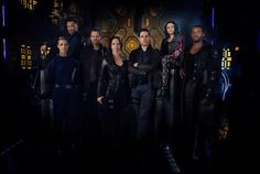The awesome Syfy Dark Matter Cast by Tj Scott and Dennys Ilic!  Here's the gang from left to right: Zoie Palmer, Alex Mallari Jr. Anthony Lemke, Melissa O'Neil, Marc Bendavid, Jodelle Ferland and Roger Cross