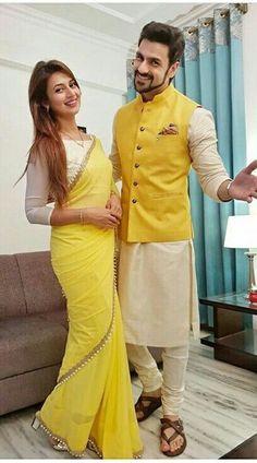 Yellow and Cream Georgette Divyanka Tripathi and Vivek Dahiya Combo Dress Wedding Kurta For Men, Wedding Dresses Men Indian, Indian Dresses, Groom Outfit, Groom Dress, Mens Kurta Designs, Blouse Designs, Selfies, Couple Wedding Dress