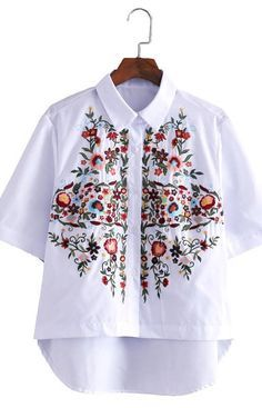 Allegra, Blouse with Floral Embroidery