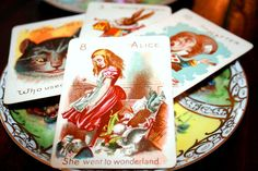 antique, hand painted Alice in Wonderland playing cards.