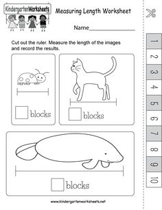 Kids can cut out a ruler and use it to measure the length of cute animals in this free kindergarten activity worksheet. Measurement Worksheets, Kindergarten Math Worksheets, Worksheets For Kids, Ruler, Homeschool, Cute Animals, Teaching, Adventure, Games