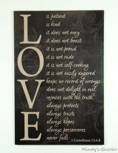 LOVE is patient, LOVE is kind Primitive Black Sign Home wall Decor marriage in Home & Garden, Home Décor, Plaques & Signs | eBay