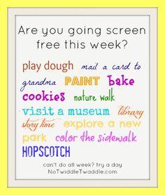 ideas for screen free week