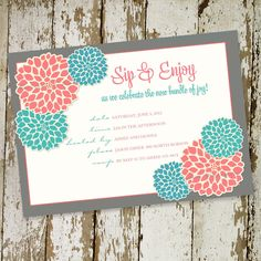 sip and see or baby shower invitation, flower blossoms, digital, printable file (item1359). $13.00, via Etsy.