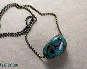 Teal Tagua Nut Necklace - vegetable ivory - Summer, boho, bohemian, hippie, surf, forest - bronze ball chain