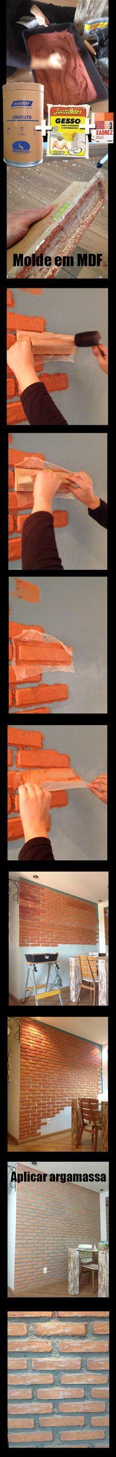 Parede de tijolo fácil de fazer/ False brick wall  Misturando grafiato, gesso, pó xadrez vermelho e amarelo e água, você ja tem a massa pronta. Faça um molde do tijolo em um MDF. Coloque um plástico no molde antes de colocar a massa, vá carimbando a parede, depois de colocar todos os tijolinhos preenha os espaços com argamassa cinza. Finalize com silicone para não soltar sujeira.
