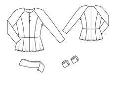Bluzka z Baskowie - numer wzorca 110 magazynu 9/2014 Burda - wzory na bluzkach Burdastyle.ru