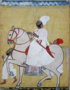 Equestrian portrait of a Jodhpur thakur Ghanshyam Singh, son of Dwarka Nath with attendants on foot. e. 19th C. Goache and gold on paper. 31 x 24.1cm