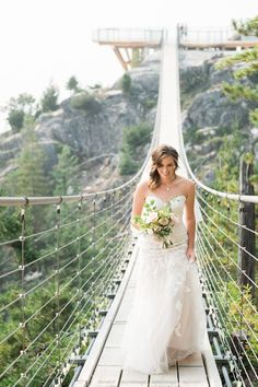 Bride walking down the suspension bridge aisle from the Sea to Sky Gondola.  Wedding: Caroline + Spencer • Wedding photographers for spontaneous, adventurous brides and grooms| Jelger + Tanja Caroline Spencer, Vancouver Wedding Photographer, Wedding Ceremony, Best Wedding Venues, Outdoor Wedding Venues, Wedding Ideas, Real Couples, Walking Down The Aisle, Island Weddings