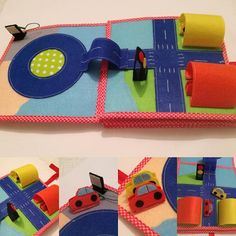 The book has 8 developing pages and a cover. Dimensions of the book are: 20 x 20 cm. Pages are made of cotton fabric and felt but also contains the small details made of other materials, such as fleece and plastic (buttons, beads,…). The book is 100% handmade. Great way to entertain