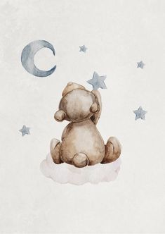 A cute poster of a teddy bear sitting on a cloud and picking stars from the sky. This beautiful watercolor illustration creates a soft and cozy feeling to the children's room! It fits perfectly together with Sleeping Teddy Poster that goes in the same col Illustration Mignonne, Bear Illustration, Watercolor Illustration Children, Sleep Teddies, Art D'ours, Teddy Bear Drawing, Baby Motiv, Baby Teddy Bear, Teddy Bear Cartoon