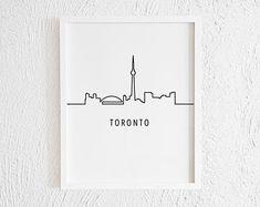 Minimalist Drawing One Line City Sight Home Wall Decor. Modern Black and White City Line Art Print. Toronto Skyline, Toronto City, Doodle Wall, City Icon, Black And White City, Minimalist Drawing, San Francisco City, Line Drawing, Drawing Ideas