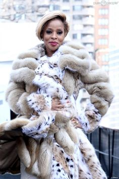 Mary J. Blige.  We love this fab fur that she flaunted during the Fall 2014 Mercedes-Benz Fashion Week in New York