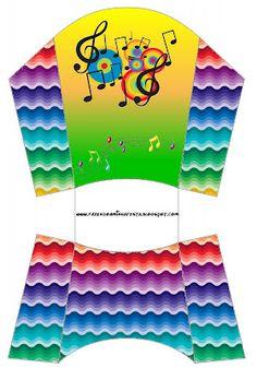 Cajitas imprimibles de notas musicales.