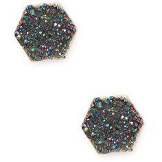 Elise M Women's Sally Stud Earrings - Black ($9.99) ❤ liked on Polyvore featuring jewelry, earrings, black, 18k jewelry, drusy jewelry, stud earrings, 18k earrings and druzy jewelry