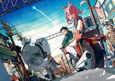 animal animal ears building cat catgirl cigarette city hat hitomai long hair male motorcycle orange eyes original pink hair scenic wallpaper background