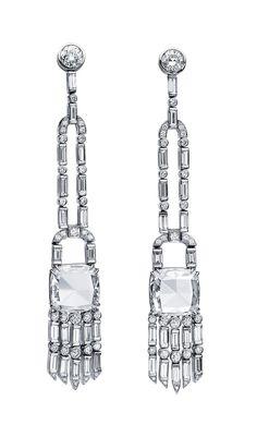 Martin Katz Diamond Vintage Tassel Style Diamond Earrings Cushion rose-cut and baguette diamonds of 7.39 carats; with 40 baguette diamonds o...