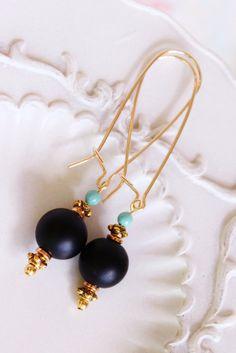 Black Agate Earrings. Aqua Jade. Gold by JennyMoralesJewelry